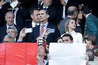 MADRID, ESPANHA, 22.04.2014 - LIGA DOS CAMPEOES - ATLETICO DE MADRID - CHELSEA - O principe espanhol Felipe de Bourbon acompanha partida entre Atletico de Madrid e Chelsea pela semi-finais da Liga dos Campeoes no Estadio Vicente Calderón, em Madri, Espanha. (FOTO: CESAR CEBOLA / ALFAQUI / BRAZIL PHOTO PRESS