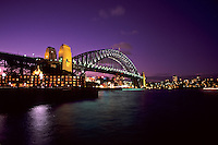 Colorful night time graphic sunset of Sydney Harbour Bridge  in New South Wales Australia