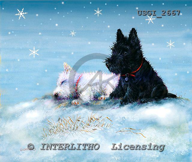 GIORDANO, CHRISTMAS ANIMALS, WEIHNACHTEN TIERE, NAVIDAD ANIMALES, paintings+++++,USGI2667,#XA# dogs,puppies