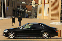 Chauffeur waiting in a limousine in the centre of Vaduz. Liechtenstein has become a major tax haven, whose opaque banking laws are said to aid fraud, money laundering and tax evasion. There are an estimated 75,000 companies registered in the country, twice that of the population. .