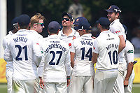 Simon Harmer of Essex is congratulated by his team mates after taking the wicket of Ian Bell during Essex CCC vs Warwickshire CCC, Specsavers County Championship Division 1 Cricket at The Cloudfm County Ground on 21st June 2017