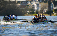 19.01.2014. River Thames, London, England. Stubborn VIII John Redos [Bow], Tom Watson [2], Joseph Dawson [3], James Mountain [4], Karl Hudspith [5], Nicholas Hazell [6], Sam O'Connor [7], Constantine Louloudis [Stroke], Sophie Shawdon [Cox] [Blue Shirts]. Persistant VIII Dominic Parr [Bow], Matthias Wyss [2], James Fraser-Mackenzie [3], Thomas Swartz [4], Malcolm Howard [5], Michael Di Santo [6], Iain Mandale [7], Chris Fairweather [Stroke], Laurence Harvey [Cox].The Trial serves as part of the selection process to determine who will represent Oxford University in the 160th running of the University Boat Race on April 6th 2014. The trial for the two eights, named Persistent and Stubborn is the only occasion during the season that the squad members can race side-by-side over the full four and a quarter miles of the Championship Course between Putney and Mortlake in a simulation of The BNY Mellon Boat Race.