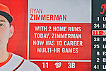 22 July 2012: Washington Nationals third baseman Ryan Zimmerman has his stats up on the scoreboard after hitting the second of two home runs for the day against the Atlanta Braves at Nationals Park in Washington, DC. The Nationals defeated the Braves 9-2 to split their 4-game weekend series. Mandatory Credit: Ed Wolfstein Photo