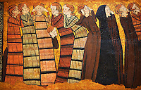 Gothic  painting &quot;Pleurants&quot; Circa 1295. National Museum of Catalan Art, Barcelona, Spain, inv no: 004372-005. <br /> Part of a set of eight panels. They come from the decoration on the tomb of the knight Sancho S&aacute;nchez Carrillo in the chapel of San Andr&eacute;s de Mahamud (Burgos).