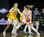 SIOUX FALLS, SD - MARCH 8: Madison Nelson #23 of the Denver Pioneers pivots and drives to the basket against Emily Dietz #34 of the North Dakota State Bison at the 2020 Summit League Basketball Championship in Sioux Falls, SD. (Photo by Richard Carlson/Inertia)