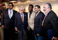Pele, Henry Kissinger. The group watched Brazil defeat the United States, 2-0, in an international friendly at the New Meadowlands Stadium in East Rutherford, NJ.
