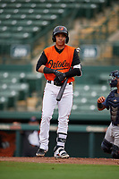 GCL Orioles Andrew Martinez (6) at bat during a Gulf Coast League game against the GCL Braves on August 5, 2019 at Ed Smith Stadium in Sarasota, Florida.  GCL Orioles defeated the GCL Braves 4-3 in the first game of a doubleheader.  (Mike Janes/Four Seam Images)