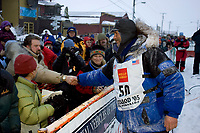 Robert Sorlie Congratulated by Spectators @ Finish Line Front St Nome 2005 Iditarod