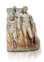 Roman Sebasteion relief  sculpture of emperor Tiberius with a captive Aphrodisias Museum, Aphrodisias, Turkey.   Against a white background.<br /> <br /> The naked emperor Tiberius stands frontally holding a spear and shield wearing a cloak and a sword strap. Besides him stands a barbarian