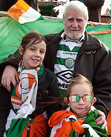 St Patricks Parade Birmingham  11th Mar 07.Dubliner James O'Callaghan with granddaughters Shannon and Katie