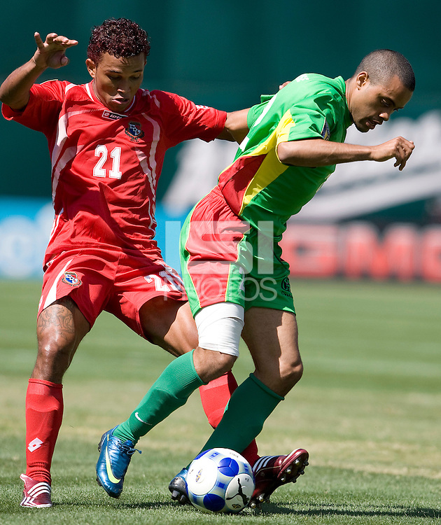 05 July 2009: Alexandre Alphonse of the Guadeloupe controls the ball away from Amilcar Henriquez of Panama during the game at Oakland-Alameda County Coliseum in Oakland, California.    Guadeloupe defeated Panama, 2-0.