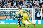 Geoffrey Kondogbia of Valencia CF (back) fights for the ball with Samuel Castillejo Azuaga, Samu Castillejo, of Villarreal CF (front) during the La Liga 2017-18 match between Valencia CF and Villarreal CF at Estadio de Mestalla on 23 December 2017 in Valencia, Spain. Photo by Maria Jose Segovia Carmona / Power Sport Images