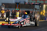 Sep 27, 2013; Madison, IL, USA; NHRA top fuel dragster driver Steve Torrence during qualifying for the Midwest Nationals at Gateway Motorsports Park. Mandatory Credit: Mark J. Rebilas-