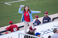 Kannapolis Intimidators intern Madison throws a t-shirt to fans during the South Atlantic League game against the Lakewood BlueClaws at Kannapolis Intimidators Stadium on April 6, 2017 in Kannapolis, North Carolina.  The BlueClaws defeated the Intimidators 7-5.  (Brian Westerholt/Four Seam Images)