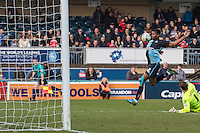 Rowan Liburd of Wycombe Wanderers beats Goalkeeper Jamie Jones of Stevenage during the Sky Bet League 2 match between Wycombe Wanderers and Stevenage at Adams Park, High Wycombe, England on 12 March 2016. Photo by Kevin Prescod/PRiME Media Images.