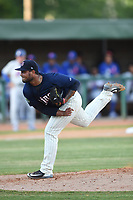 Elizabethton Twins starting pitcher Andriu Marin (15) follows through on a pitch during a game against the Kingsport Mets at Northeast Community Credit Union Ballpark on July 5, 2019 in Elizabethton, Tennessee. The Twins defeated the Mets 7-1. (Tracy Proffitt/Four Seam Images)