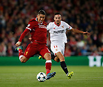 Roberto Firmino of Liverpool gets clear of Pablo Sarabia of Sevilla during the Champions League Group E match at the Anfield Stadium, Liverpool. Picture date 13th September 2017. Picture credit should read: Simon Bellis/Sportimage