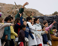 ALUMNOS DE  LA ESCUELA HOGAR NUMERO 69 &uml;SIERRA DE PAILEMAN&uml;,  ARROJAN PLUMAS DE CONDOR ANTES DE LA LIBERACION. SE LIBERARAN TRES CONDORES NACIDOS EN EL ZOO DE BUENOS AIRES,<br /> <br /> <br /> Pupils of near schools throws condor feathers  before the released of young condor birds in Sierra de Paileman, rio Negro provincie, Argentina..Captive-bred condors are later  released in Andes mountain range as part of a program to fight the extinction of the largest bird of Western Hemisphere, also called the King of the Andes.For indigenous people, condor are a symbol of the Andean culture