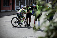 Kenny Molly (BEL/Wallonie Bruxelles) already showed signs of a crash early race. He tried to limit the damage throughout the race but wasn't able to finish...He had to give up early and was taken care of by a team 'soigneur'.   <br /> <br /> Baloise Belgium Tour 2019<br /> Stage 4: Seraing – Seraing 151.1km<br /> ©kramon