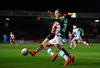 Lincoln City's Harry Anderson vies for possession with Yeovil Town's Josh Grant<br /> <br /> Photographer Chris Vaughan/CameraSport<br /> <br /> The EFL Sky Bet League Two - Lincoln City v Yeovil Town - Friday 8th March 2019 - Sincil Bank - Lincoln<br /> <br /> World Copyright © 2019 CameraSport. All rights reserved. 43 Linden Ave. Countesthorpe. Leicester. England. LE8 5PG - Tel: +44 (0) 116 277 4147 - admin@camerasport.com - www.camerasport.com