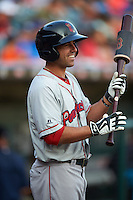 Pawtucket Red Sox shortstop Deven Marrero (12) on deck during a game against the Buffalo Bisons on August 28, 2015 at Coca-Cola Field in Buffalo, New York.  Pawtucket defeated Buffalo 7-6.  (Mike Janes/Four Seam Images)