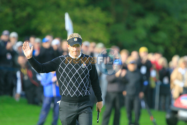 Luke Donald after taking his putt on the 14th hole in the Day 2 session of the overnight Fourball Match 4 during Day 1 of the The 2010 Ryder Cup at the Celtic Manor, Newport, Wales, 29th September 2010..(Picture Eoin Clarke/www.golffile.ie)