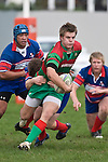 Steven Kennedy is all determination as he is taken in a tackle by Dean Cummins. Counties Manukau Premier rugby game between Waiuku & Ardmore Marist played at Waiuku on Saturday May 10th 2008..Ardmore Marist won 27 - 6 after leading 10 - 6 at halftime.