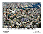 Aerial Photograph of the M&T Bank Park,  home of  the Baltimore Ravens, the Baltimore Inner Harbor, and  Camden Yards, home of the Baltimore Orioles on  October 10, 2006. ([Julia Robertson]/via AP Images)