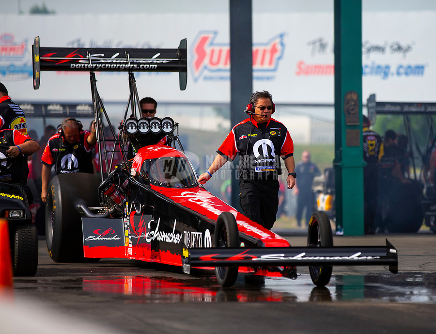 May 18, 2018; Topeka, KS, USA; Crew members for NHRA top fuel driver Leah Pritchett during qualifying for the Heartland Nationals at Heartland Motorsports Park. Mandatory Credit: Mark J. Rebilas-USA TODAY Sports