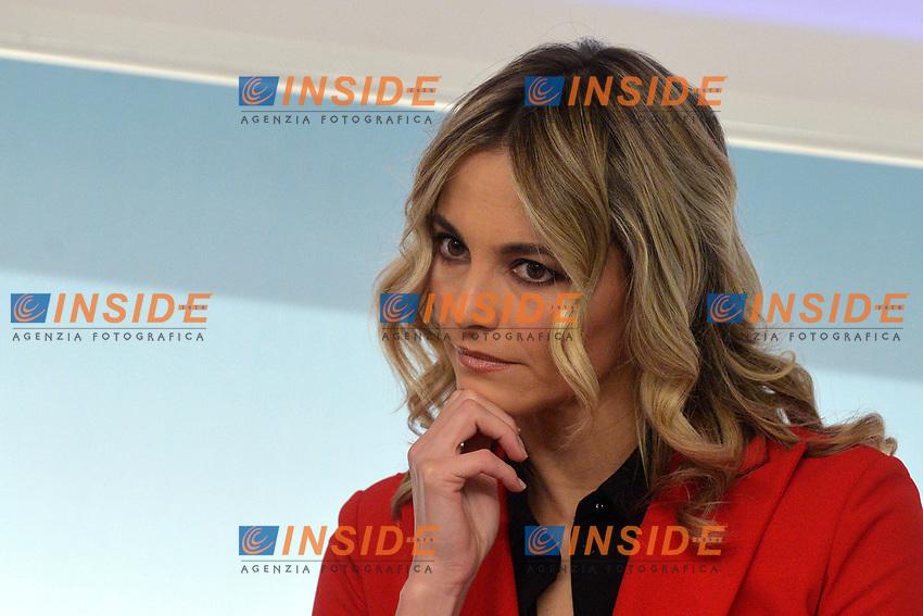 Tv Presenter Francesca Fialdini<br /> Rome November 21st 2019. Palazzo Chigi. Press conference for International Day for the Elimination of Violence against Women<br /> Foto  Samantha Zucchi Insidefoto