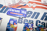 Campaign materials including bumper stickers and pins for Republican presidential candidate Ben Carson lay on a table at the annual Coalition of New Hampshire Taxpayers Picnic at the Hillsborough American Legion #59 in Hillsborough, New Hampshire. Representatives from most of the candidates running for president were at the picnic, as were members of local conservative political groups.