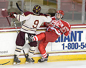 Billy Scannell (BC - 9), Nick Dougherty (BU - 25) - The Boston College Eagles defeated the visiting Boston University Terriers 6-2 in ACHA play on Sunday, December 4, 2011, at Kelley Rink in Conte Forum in Chestnut Hill, Massachusetts.