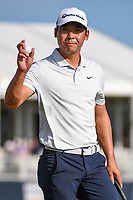 Xinjun Zhang (CHN) after sinking his putt on 18 during round 4 of the 2019 Houston Open, Golf Club of Houston, Houston, Texas, USA. 10/13/2019.<br /> Picture Ken Murray / Golffile.ie<br /> <br /> All photo usage must carry mandatory copyright credit (© Golffile | Ken Murray)