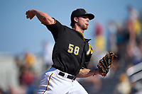 Pittsburgh Pirates relief pitcher Trey Haley (58) delivers a pitch during a Spring Training game against the Boston Red Sox on March 9, 2016 at McKechnie Field in Bradenton, Florida.  Boston defeated Pittsburgh 6-2.  (Mike Janes/Four Seam Images)