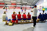 Mannheim, Germany, November 16: During the OB-tournament preparation indoor hockey match between Mannheimer HC and Ruesselheimer RK on November 16, 2019 at TSV Mannheim in Mannheim, Germany. (Copyright Dirk Markgraf / 265-images.com) ***