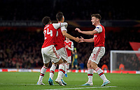 Kieran Tierney (right) runs to congratulate goalscorer Gabriel Martinelli of Arsenal  during the UEFA Europa League match between Arsenal and Standard Liege at the Emirates Stadium, London, England on 3 October 2019. Photo by Andrew Aleks.