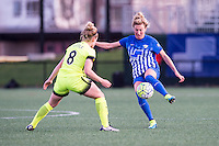 Allston, MA - Sunday, April 24, 2016: Seattle Reign FC midfielder Kim Little (8) and Boston Breakers defender Kassey Kallman (5). The Boston Breakers play Seattle Reign during a regular season NSWL match at Jordan Field, Harvard University.