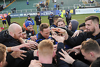 The Bath Rugby team celebrate victory after the match. Aviva Premiership match, between Bath Rugby and Sale Sharks on February 24, 2018 at the Recreation Ground in Bath, England. Photo by: Patrick Khachfe / Onside Images
