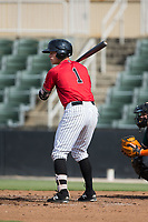 Alex Call (1) of the Kannapolis Intimidators at bat against the Greensboro Grasshoppers at Kannapolis Intimidators Stadium on August 13, 2017 in Kannapolis, North Carolina.  The Grasshoppers defeated the Intimidators 4-1 in 10 innings in the completion of a game suspended on August 12, 2017.  (Brian Westerholt/Four Seam Images)