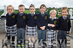 The new junior infants in Mrs Murphy's class in Scoil Mhuire NS in Brosna on Thursday.