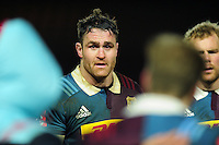 James Horwill of Harlequins speaks to his team-mates in a huddle after the match. Anglo-Welsh Cup match, between Harlequins and Sale Sharks on February 3, 2017 at the Twickenham Stoop in London, England. Photo by: Patrick Khachfe / JMP