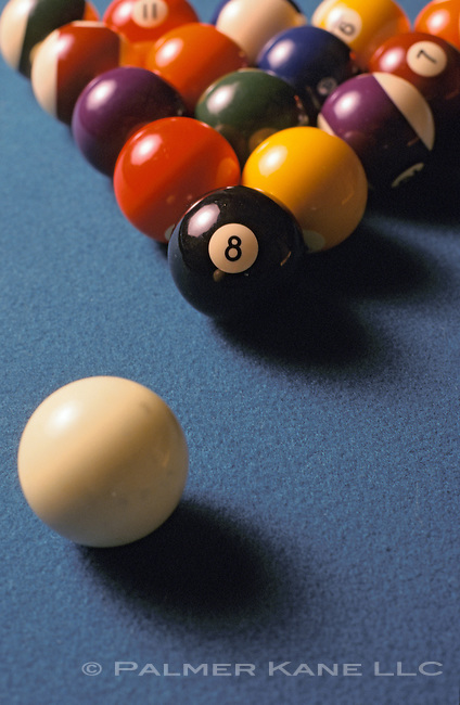 Still life of pool table with billiard balls
