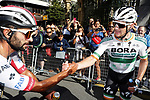 Fernando Gaviria (COL) UAE Team Emirates congratulates Sam Bennett (IRL) Bora-Hansgrohe after he wins Stage 14 of La Vuelta 2019 running 188km from San Vicente de la Barquera to Oviedo, Spain. 7th September 2019.<br /> Picture: Luis Angel Gomez/BettiniPhoto | Cyclefile<br /> <br /> All photos usage must carry mandatory copyright credit (© Cyclefile | Luis Angel Gomez/BettiniPhoto)