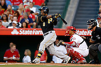 Starling Marte #6 of the Pittsburgh Pirates bats against the Los Angeles Angels at Angel Stadium on June 21, 2013 in Anaheim, California. (Larry Goren/Four Seam Images)