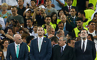 Calcio, finale di Champions League: Real Madrid vs Atletico Madrid. Stadio San Siro, Milano, 28 maggio 2016.<br /> From left, FIFA World Football Federations' president Gianni Infantino, Spain's King Felipe, Real Madrid's President Florentino Perez and Spain's Prime Minister Mariano Rajoy attend the award ceremony at the end of the Champions League final match between Real Madrid and Atletico Madrid, in Milan, 28 May 2016. Real Madrid won 5-4 on penalties after the game ended 1-1.<br /> UPDATE IMAGES PRESS/Isabella Bonotto