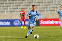 HARRISON, NJ - FEBRUARY 26: Alexandru Mitrita #28 of NYCFC during a game between AD San Carlos and NYCFC at Red Bull on February 26, 2020 in Harrison, New Jersey.