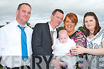 CHRISTENED: Little Megan Lawlor with her parents Damien and Kay Lawlor and her godparents Darren Lawlor and Joanne O'Connell at Ballyroe Heights Hotel, Tralee after her christening in St Mary's Church, Ballyheigue on Sunday.
