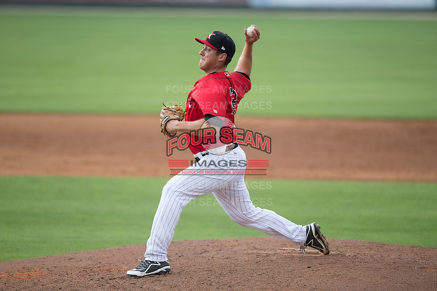 Kannapolis Intimidators relief pitcher Brad Salgado (22) in action against the Delmarva Shorebirds at CMC-Northeast Stadium on June 7, 2015 in Kannapolis, North Carolina.  The Shorebirds defeated the Intimidators 9-1.  (Brian Westerholt/Four Seam Images)