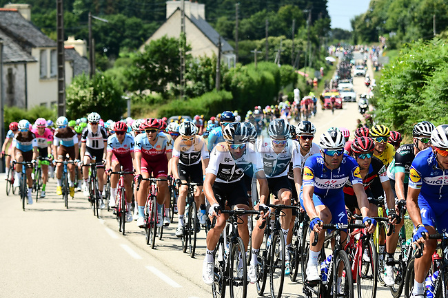 The peloton in action during Stage 6 of the 2018 Tour de France running 181km from Brest to Mur-de-Bretagne Guerledan, France. 12th July 2018. <br /> Picture: ASO/Alex Broadway | Cyclefile<br /> All photos usage must carry mandatory copyright credit (© Cyclefile | ASO/Alex Broadway)