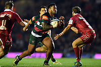 Manu Tuilagi of Leicester Tigers faces off against Dan Jones of the Scarlets. Heineken Champions Cup match, between Leicester Tigers and the Scarlets on October 19, 2018 at Welford Road in Leicester, England. Photo by: Patrick Khachfe / JMP